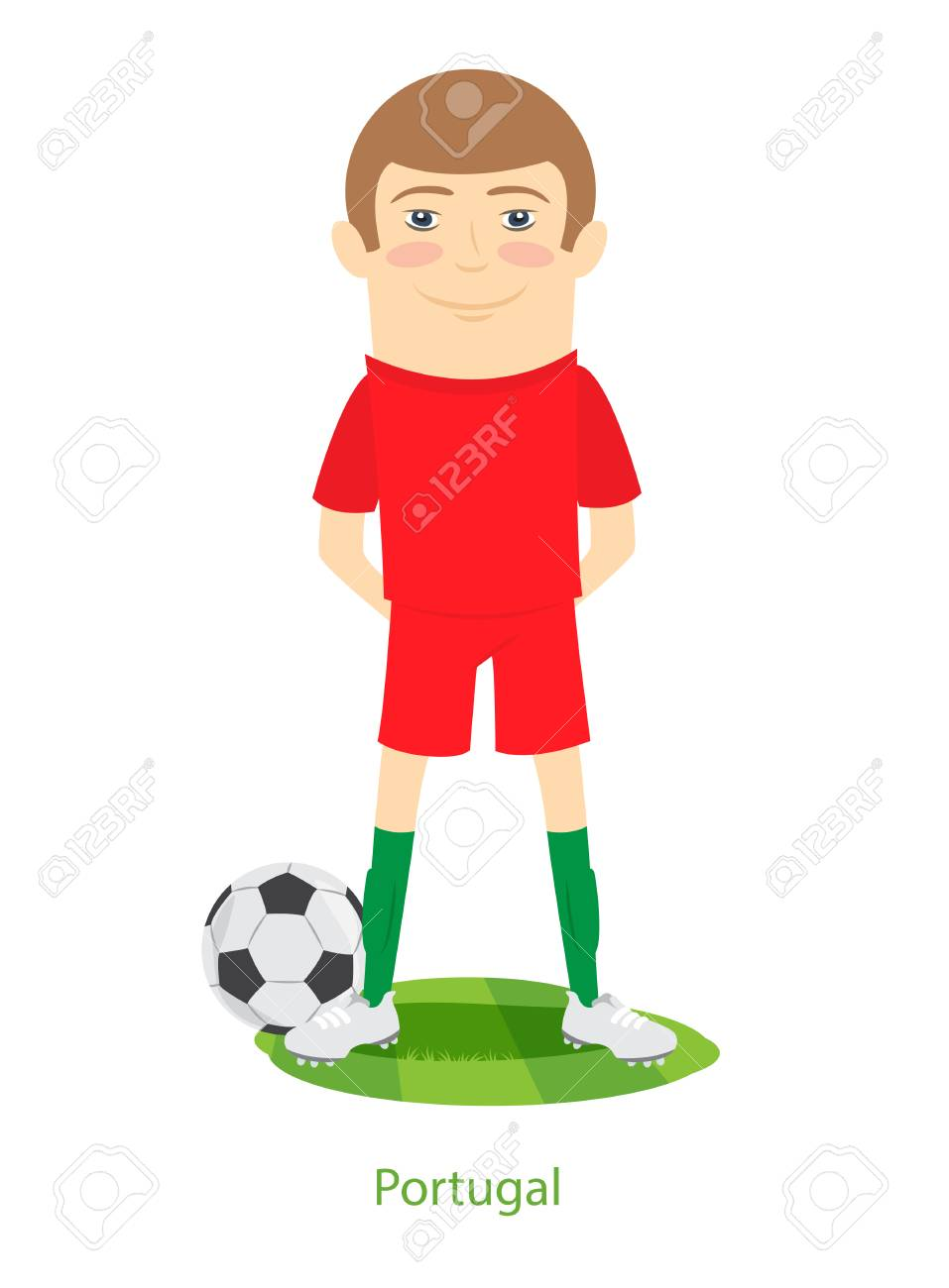 962cca423 Vector Illustration. 2017 Confederations Cup Portugal team s uniform. Set  of Funny football soccer player character standing on