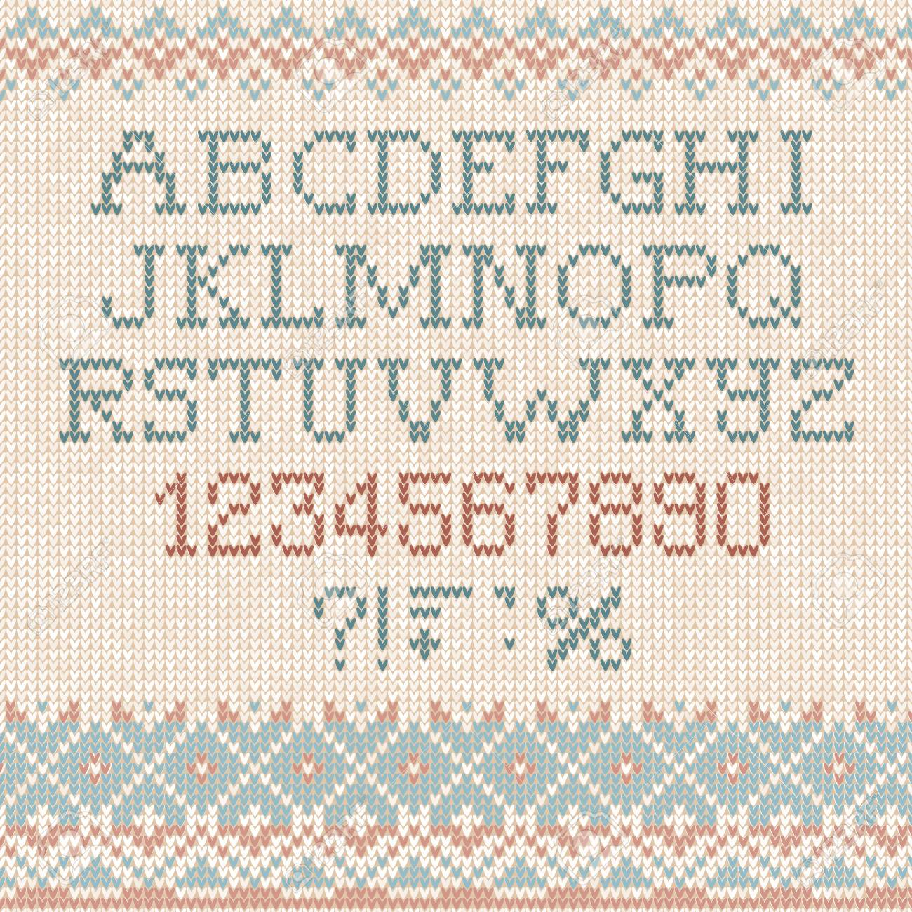 Handmade Knitted Pattern With Font Alphabet Letters And Numbers ...