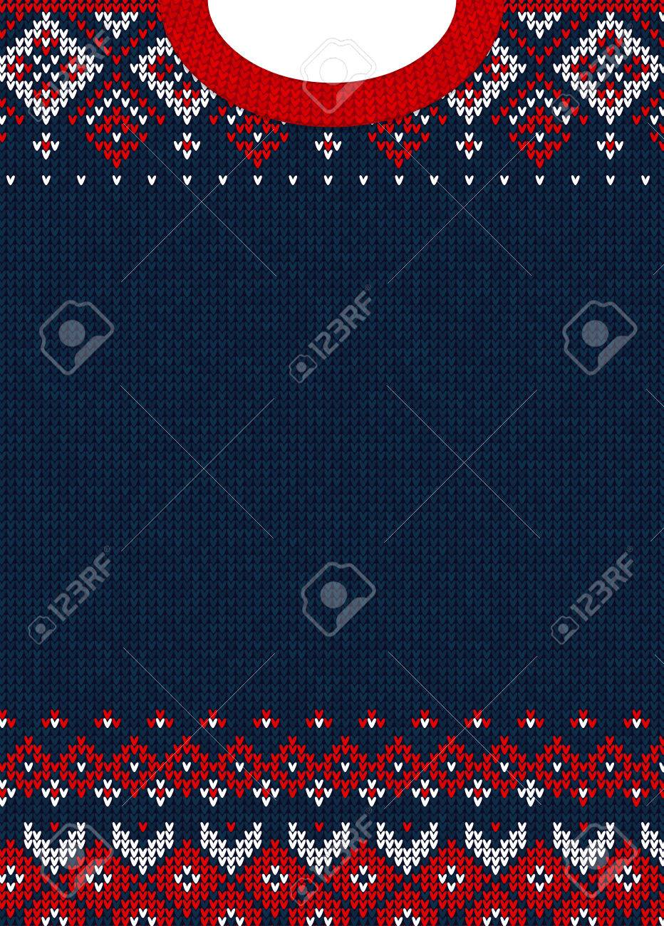 ugly sweater merry christmas and happy new year greeting card template vector illustration handmade knitted