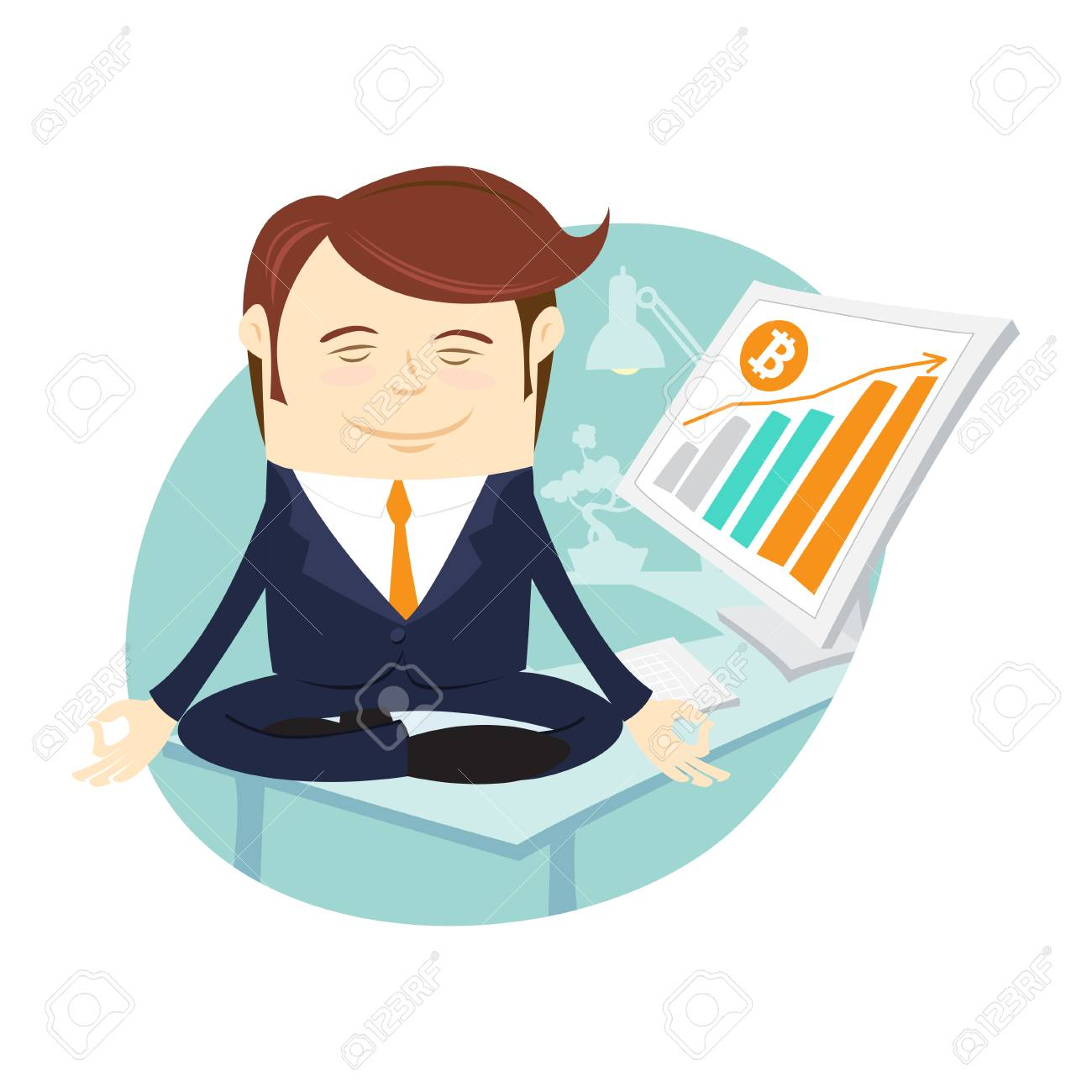 Funny Businessman Mining Bitcoin Office Desk Computer Doing Royalty Free Cliparts Vectors And Stock Illustration Image 90136647