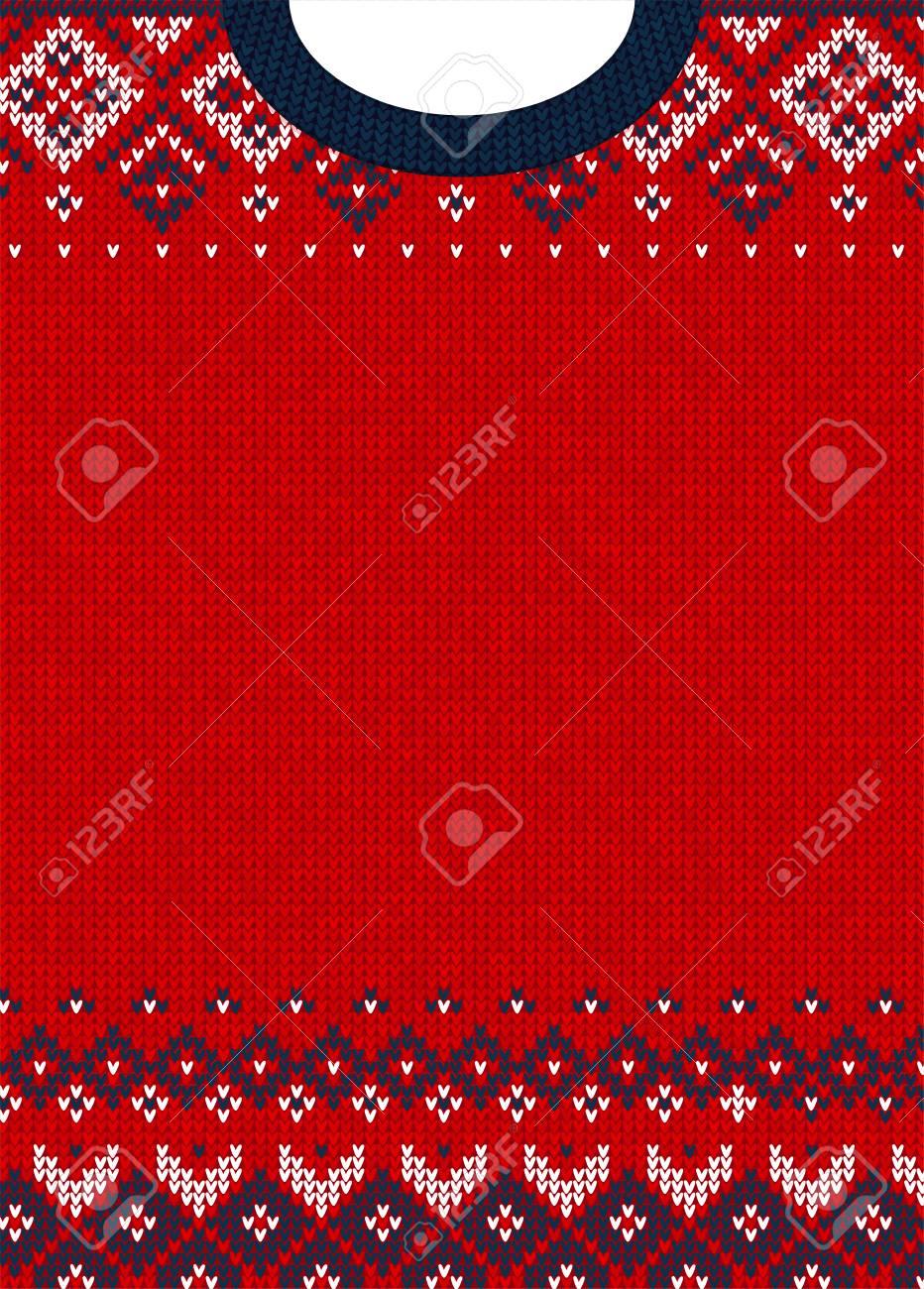 27673f4a0405 Hässliche Strickjacke Frohe Weihnachten und Happy New Year  Grußkartenvorlage. Vektorabbildung Handgemachtes gestricktes  Hintergrundmuster mit ...