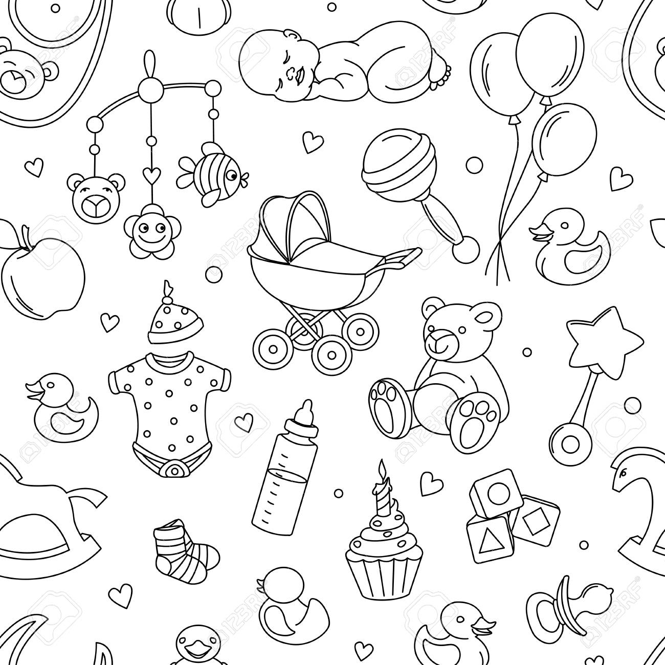 Newborn Baby Shower Seamless Pattern For Textile Print Greeting