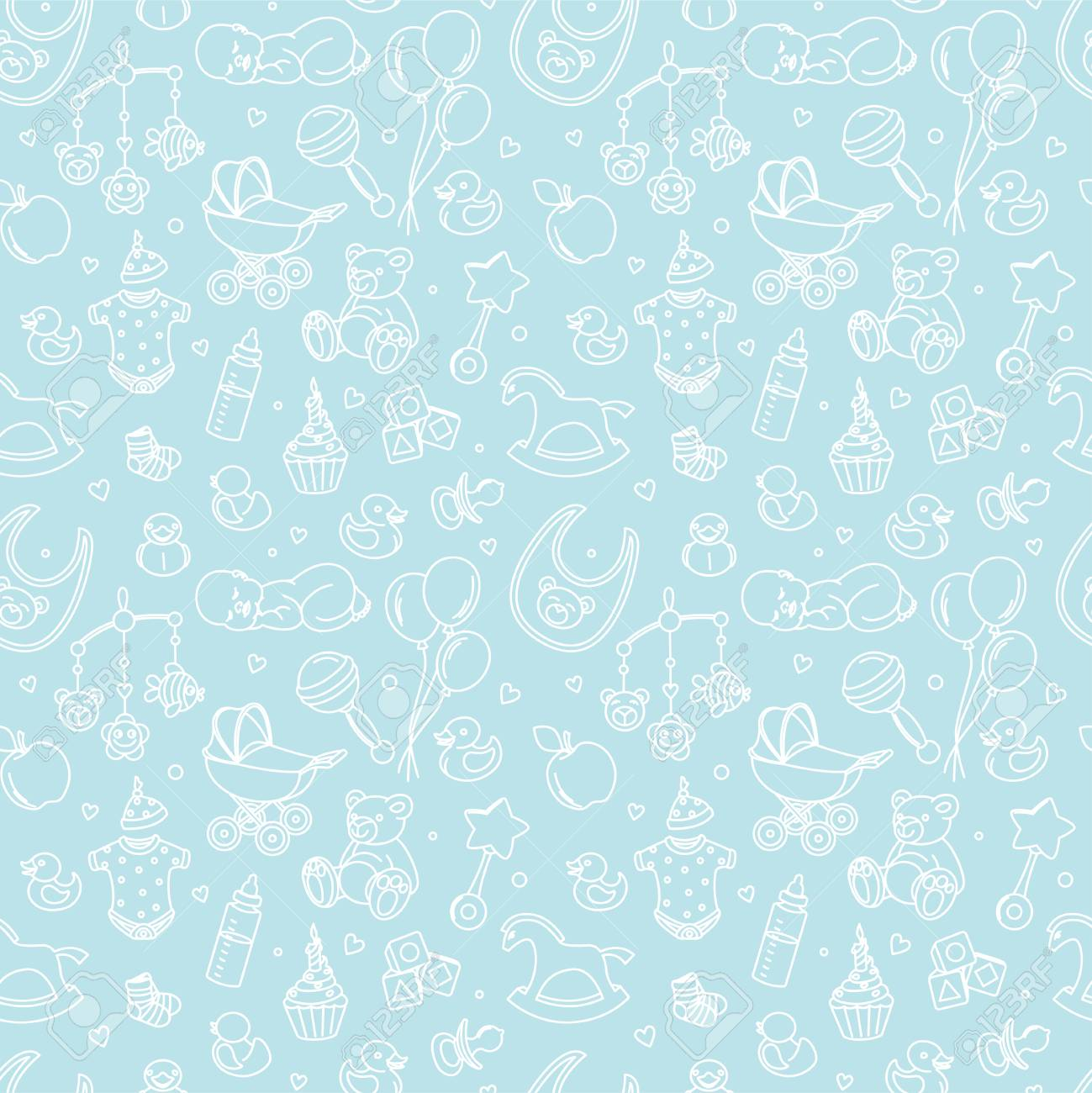 Newborn baby shower seamless pattern for textile, print, greeting cards, wrapping paper,