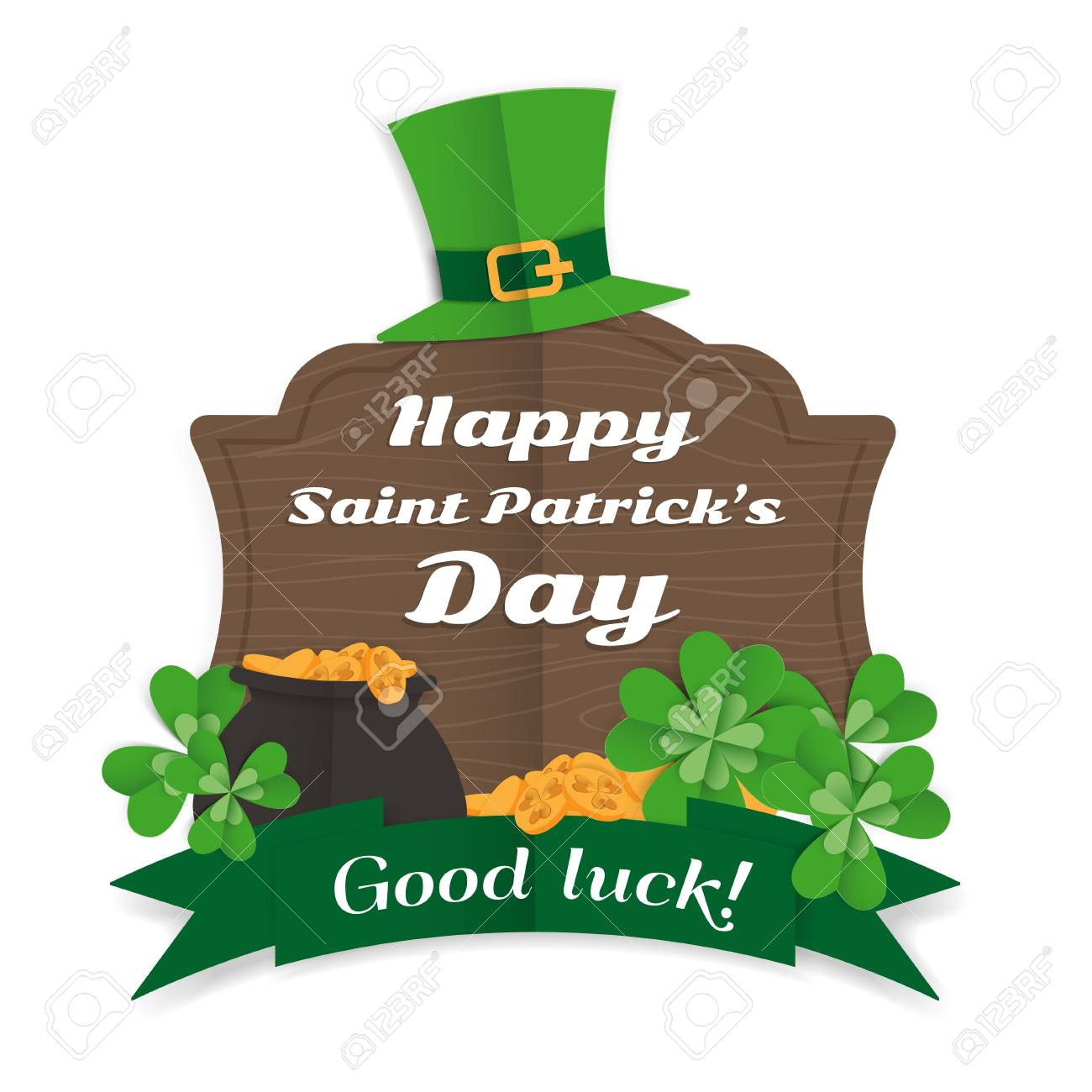 Festive Happy Saint Patricks Day Greeting Card With Wooden Sign