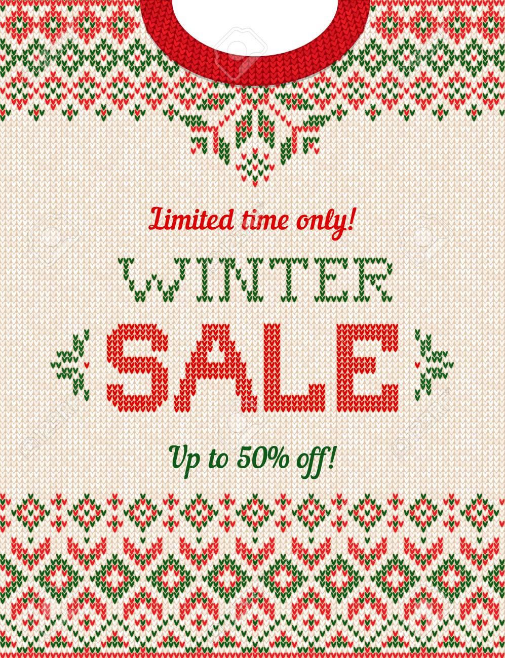ed44485d0b96 Ugly Sweater Christmas Season Winter Sale Poster. Vector ...