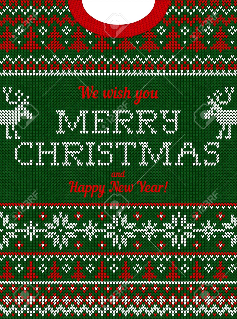 a9af38c9f19a6 Ugly sweater Christmas party invite. Vector illustration Handmade knitted  background pattern with deers  christmas