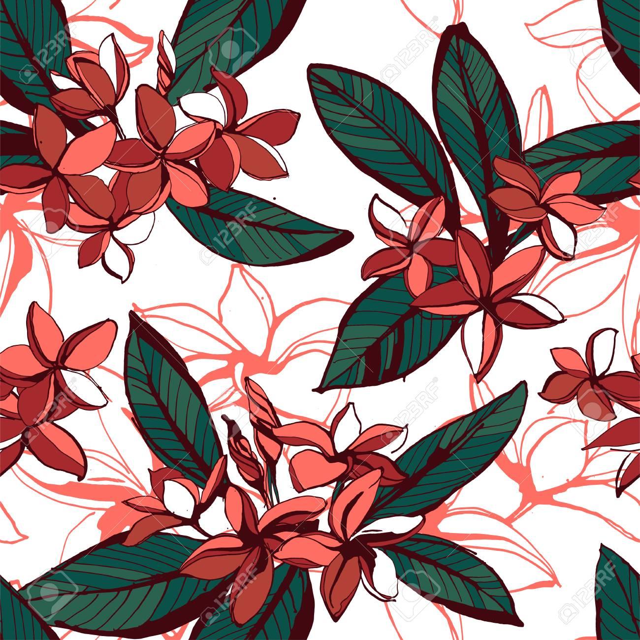 e8460ef2ae136 Vector illustration Tropical floral summer seamless pattern plumeria..
