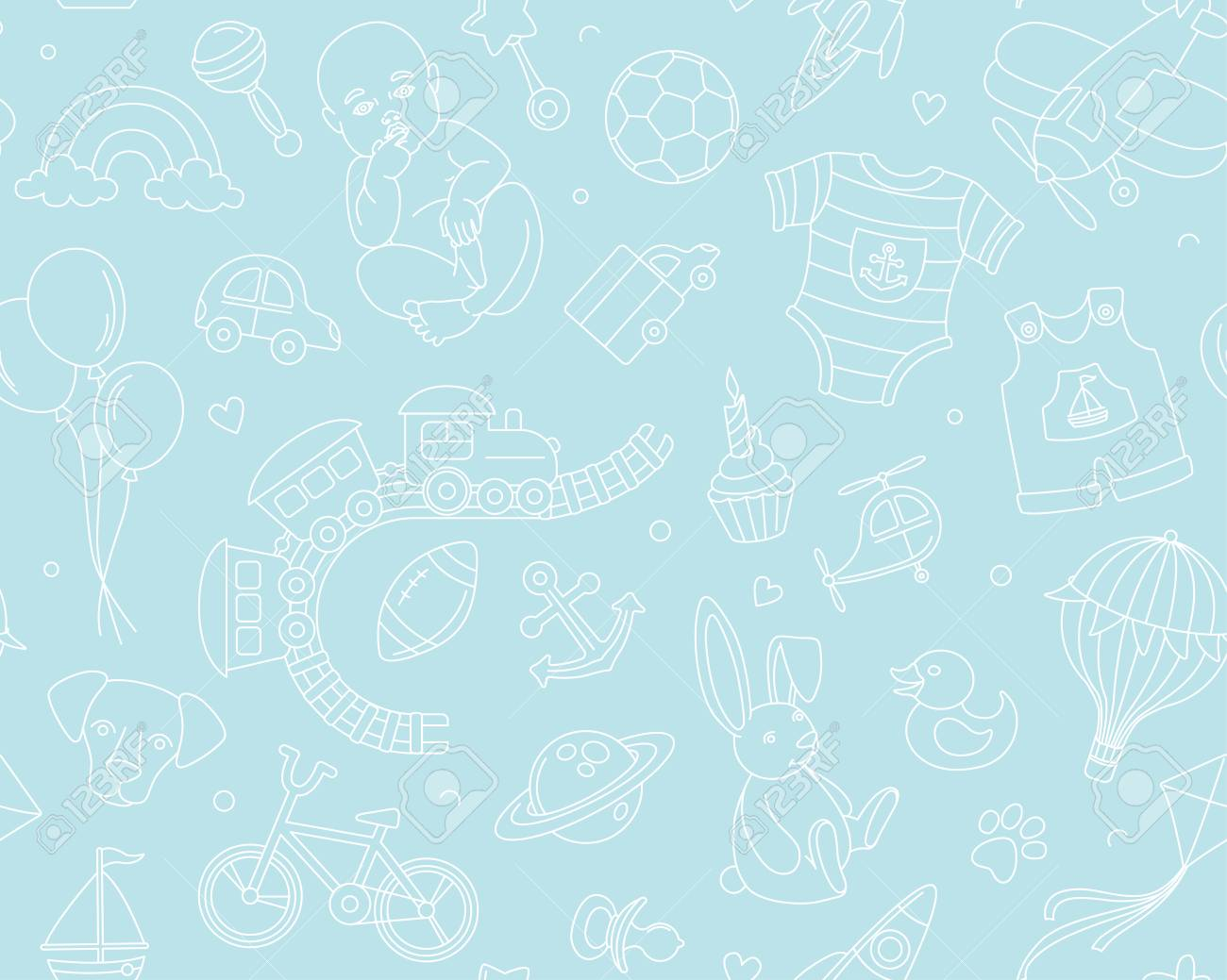 Newborn Boy Baby Shower Seamless Pattern For Textile Print