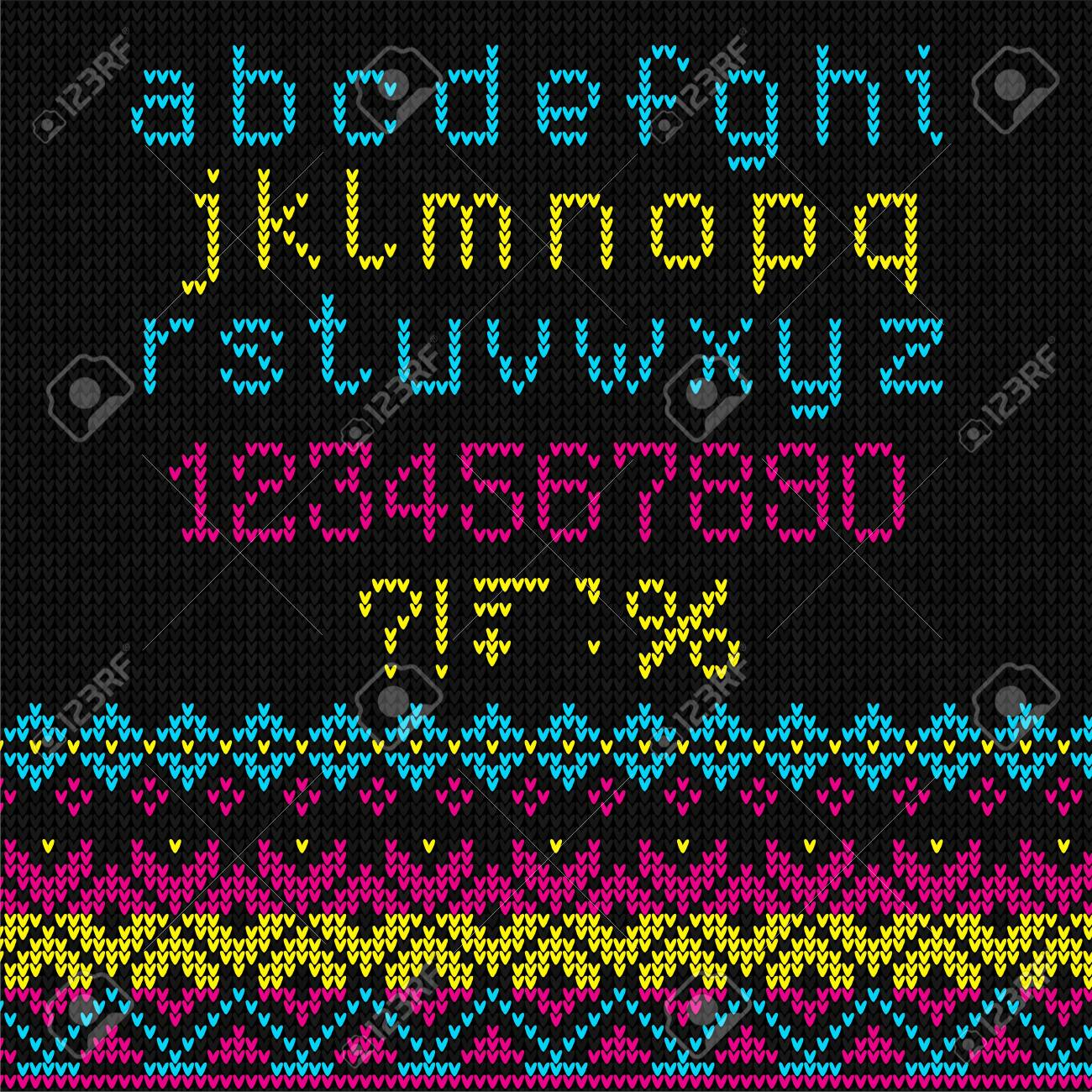 Ugly Sweater Knit Font Alphabet Numbers Ornament