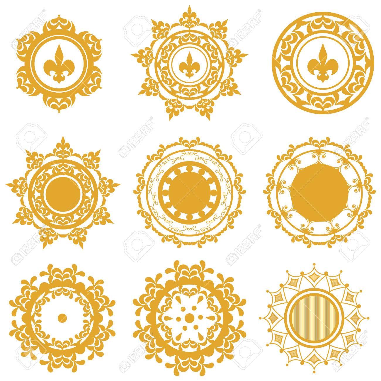 Conjunto De Mandalas De Color Amarillo O De Oro Con Patrones