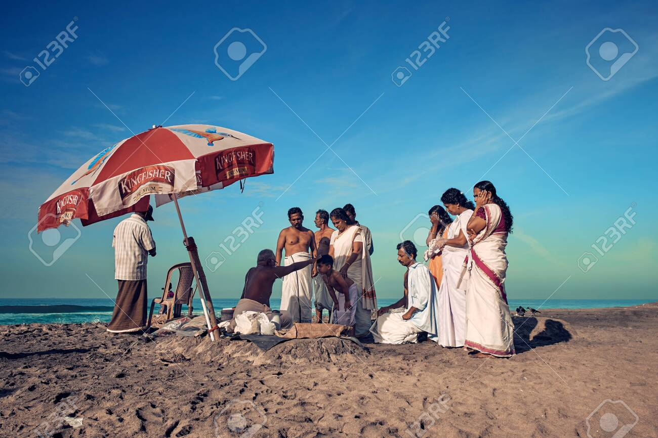 Varkala, Kerala, India - Nov 30, 2017: Varkala beach  Peoples