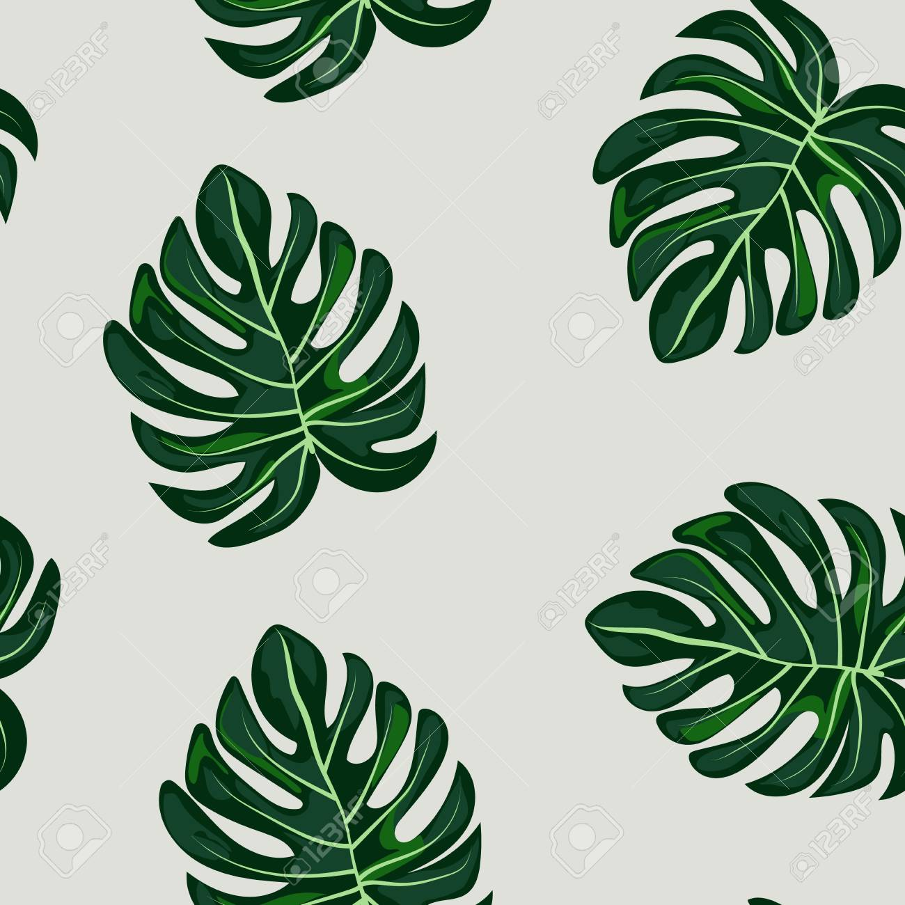 Blue tropical leaves monstera pattern. Tropical seamless pattern with leaf monstera. - 124907117