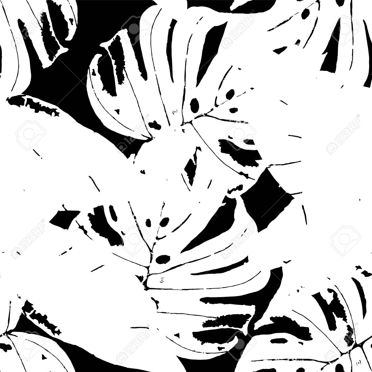 Black and White Banana Leaves Spring Vector Seamless Pattern. Foliage Abstract Background. Hawaii Monstera Leaves Pattern. Monochrome Fashion Flower Wallpaper. - 148513985