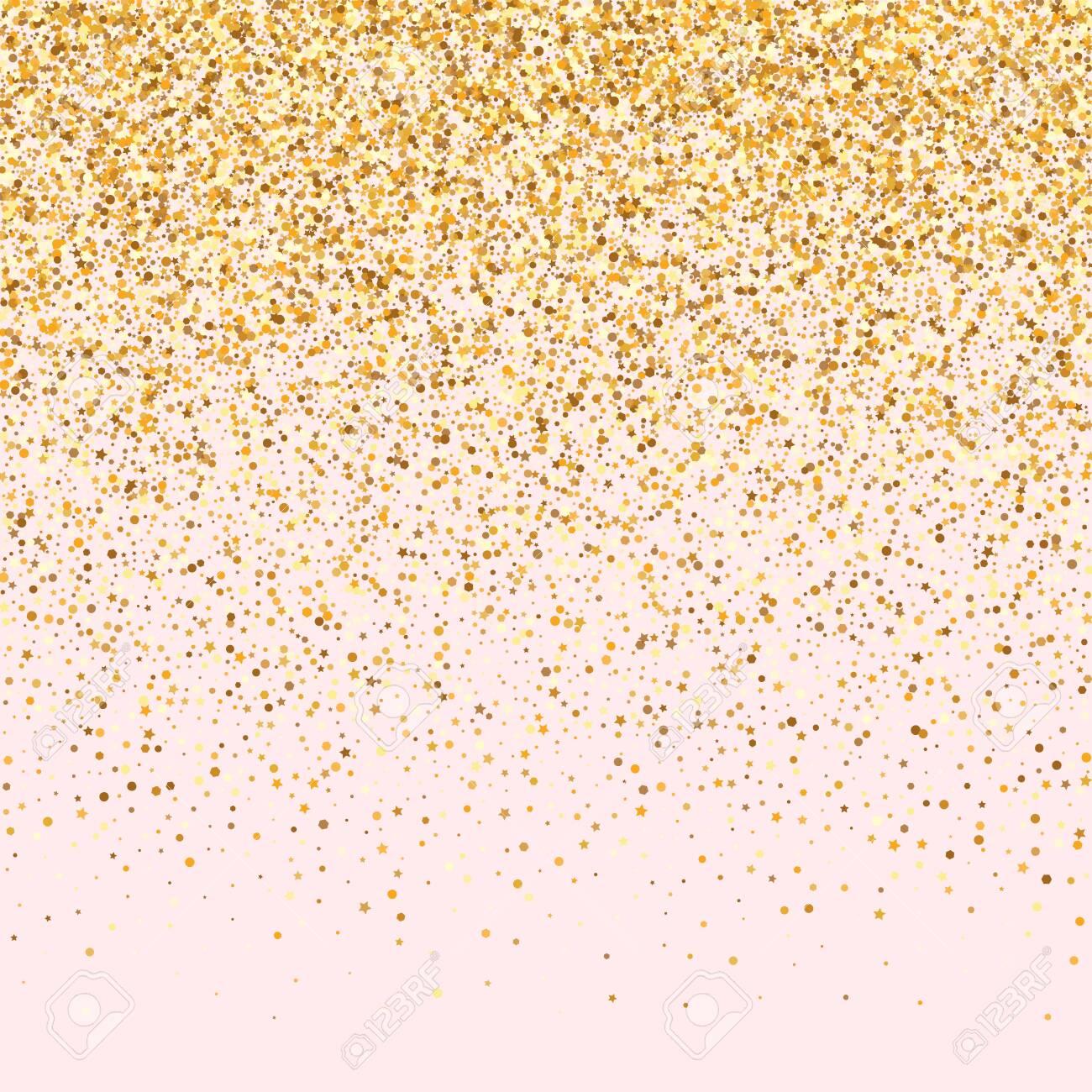 Yellow Dot Glamour Pink Background. Luxury Confetti Postcard. Golden Sparkle Rich Wallpaper. Circle Bridal Invitation. - 151020725