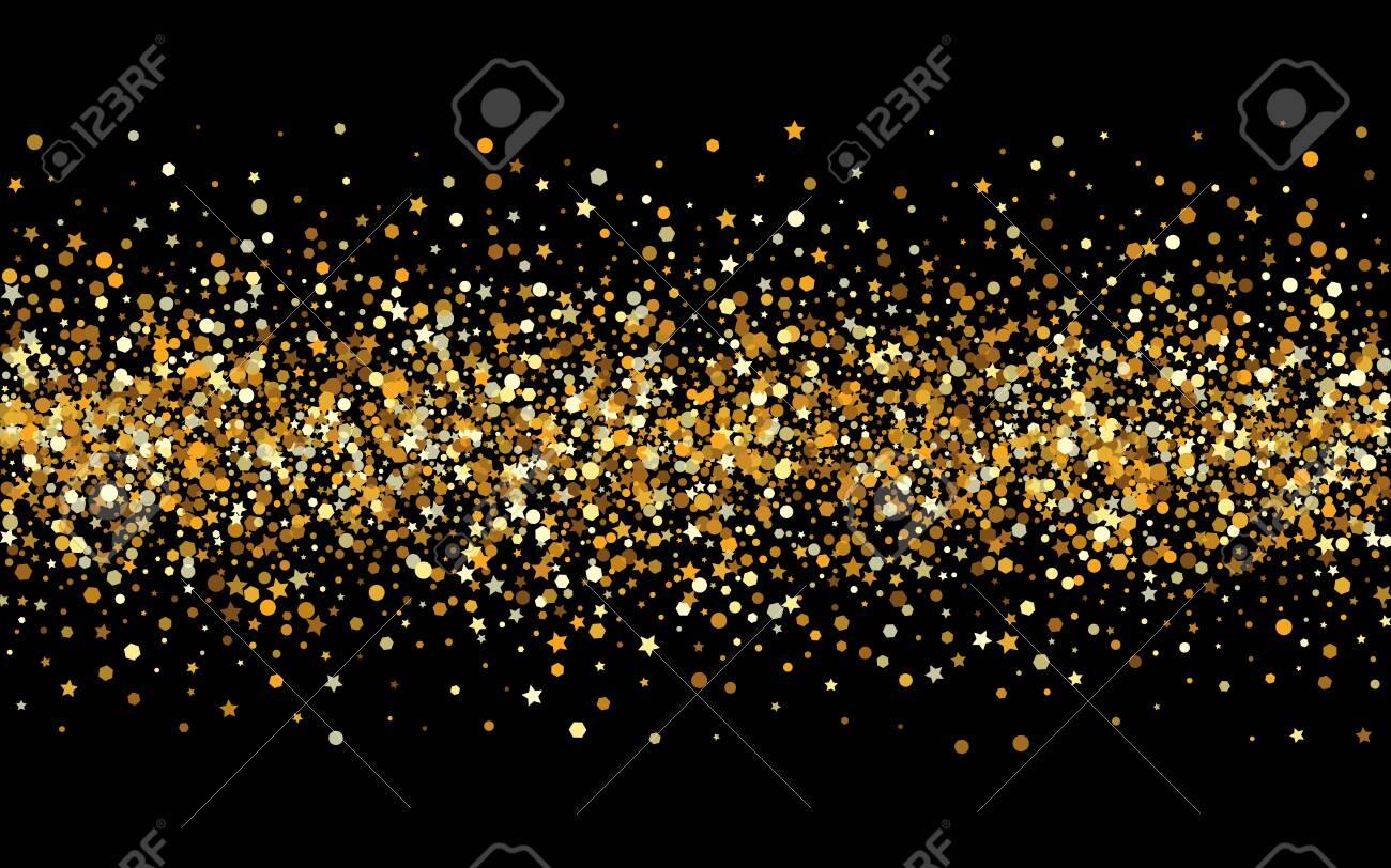 Yellow Glow Effect Black Background. Christmas Shine Design. Golden Circle Golden Wallpaper. Dot Abstract Pattern. - 154061573