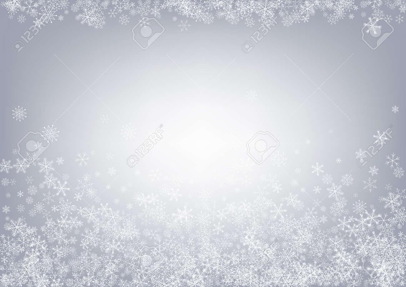 Gray Snowflake Vector Gray Background. Abstract Snowfall Card. White Fantasy Texture. Falling Snow Holiday. - 154565516