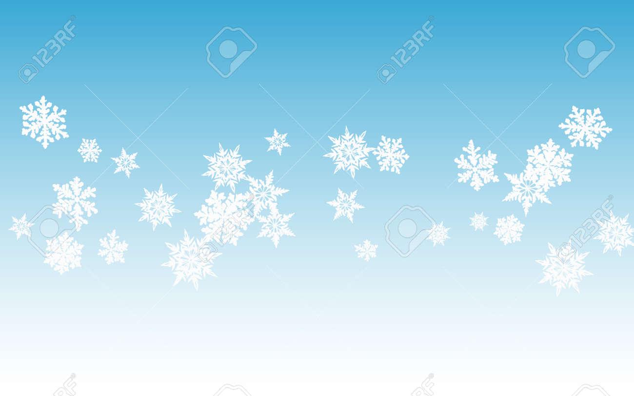 White Snowflake Panoramic Vector Blue Background. Winter Snowfall Pattern. Gray Fantasy Design. Light Snow Banner. - 155396927