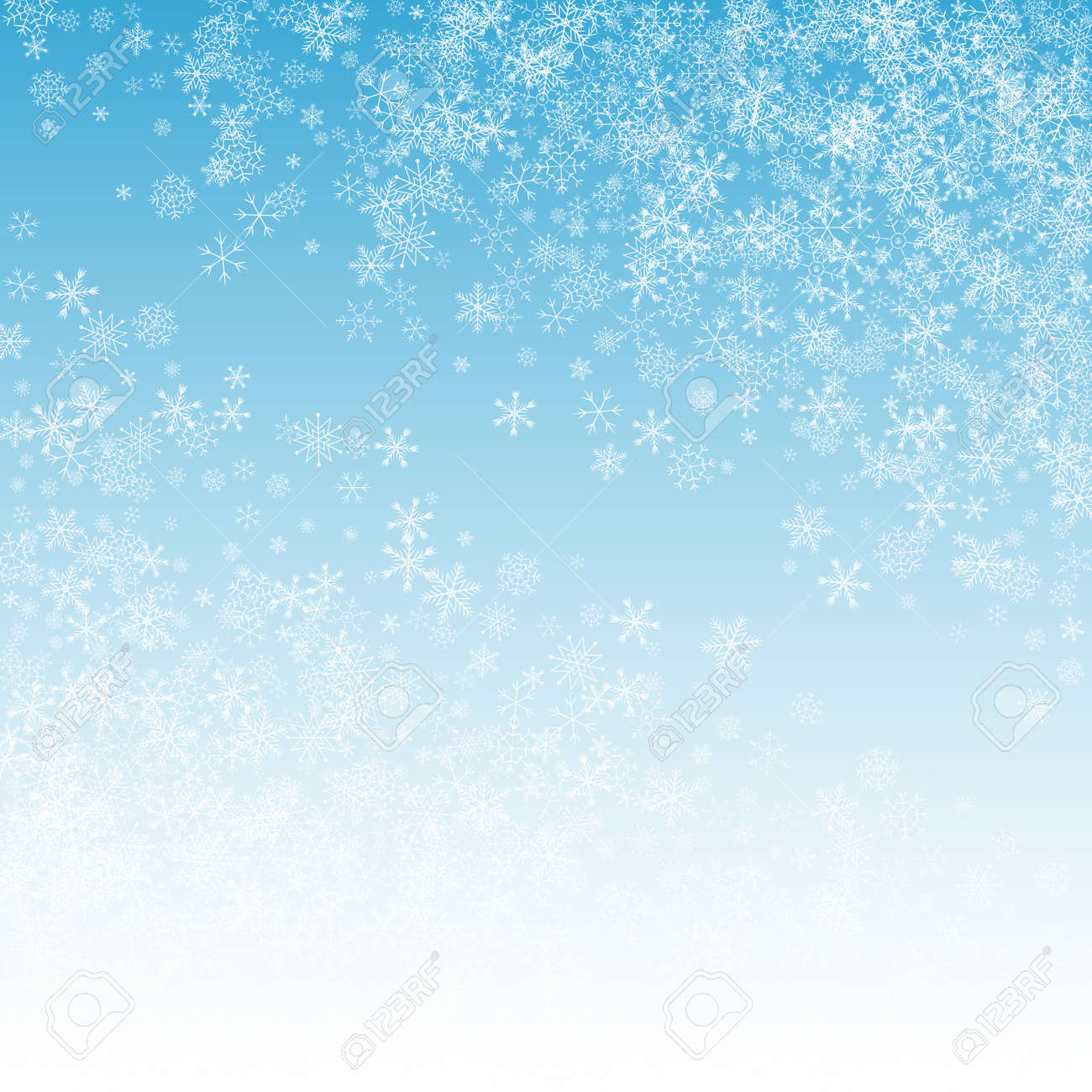 White Snow Vector Blue Background. Light Snowfall Holiday. Silver Falling Transparent. magic Snowflake Backdrop. - 157450291
