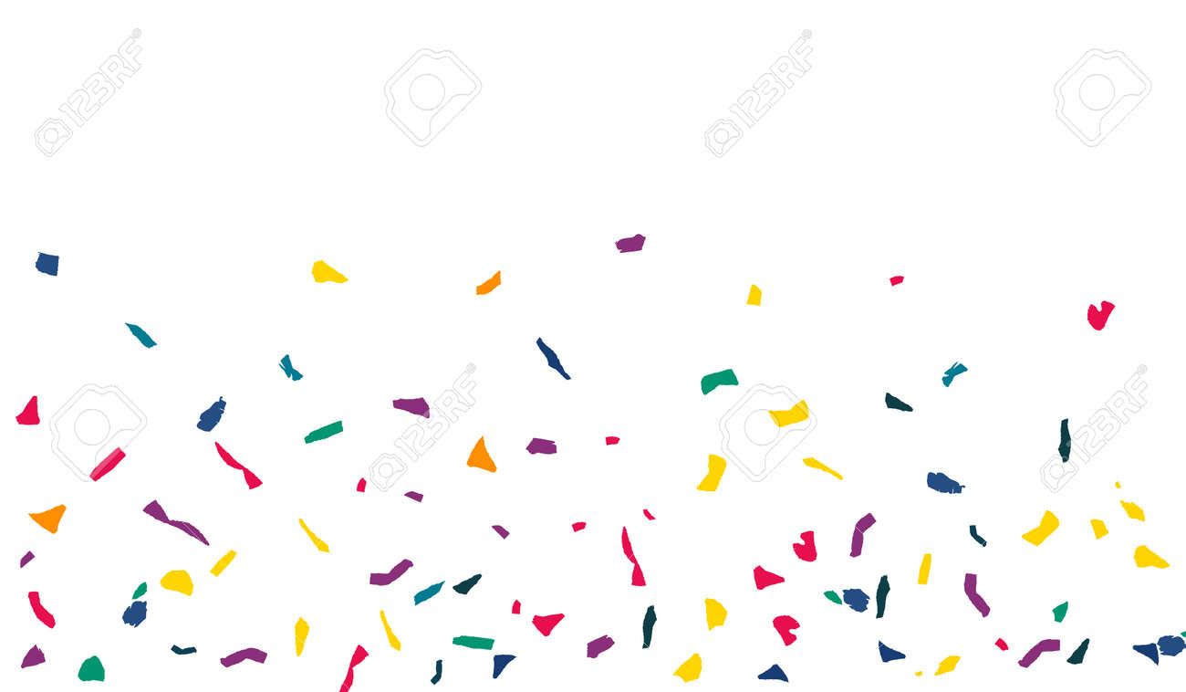 White Confetti Fun White Background. Flying Colored Paper Pattern. FallingFestive Elements Banner. Yellow Particles Transparent Backdrop. - 158511108