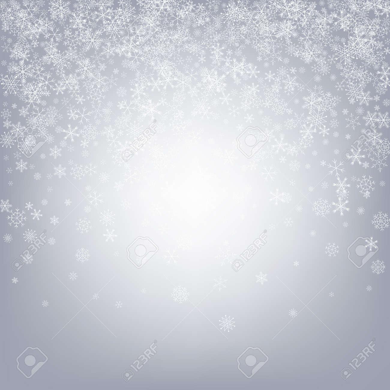 Gray Snow Vector Gray Background. Abstract Snowflake Design. White Xmas Illustration. Sky Snowfall Transparent. - 158510772