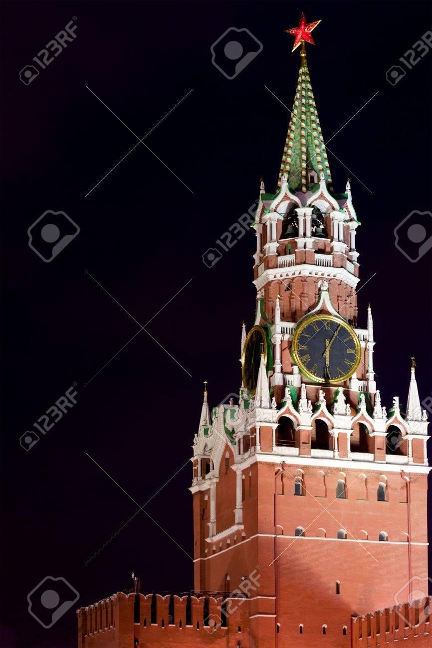 Spasskaya Tower of Kremlin at night Stock Photo - 13067724