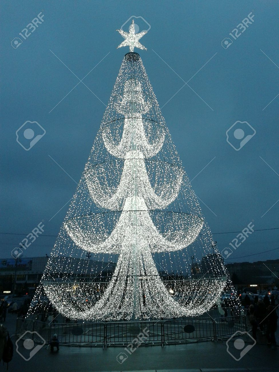 Christmas Tree Made Of Lights Moscow Stock Photo, Picture And ...