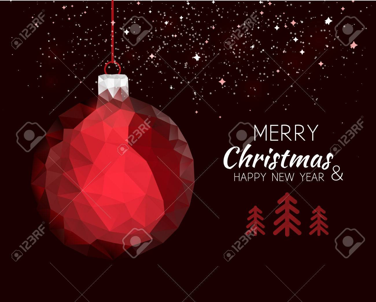 Merry Christmas Happy New Year Red Ornament Ball Shape In Hipster ...