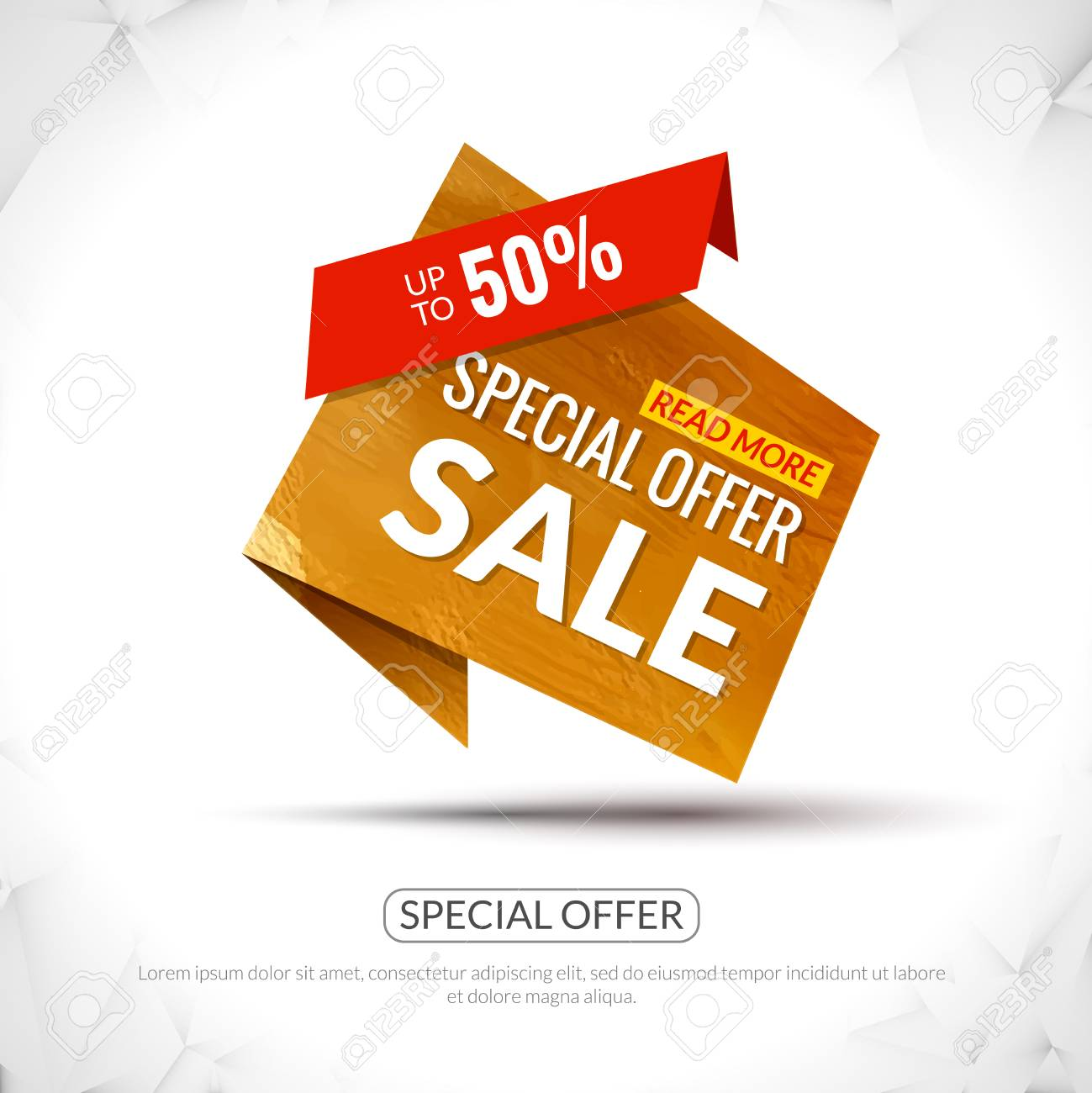 Sale Tag In Paper Origami Style With Watercolor Texture Promotional Marketing And Special Offer 50