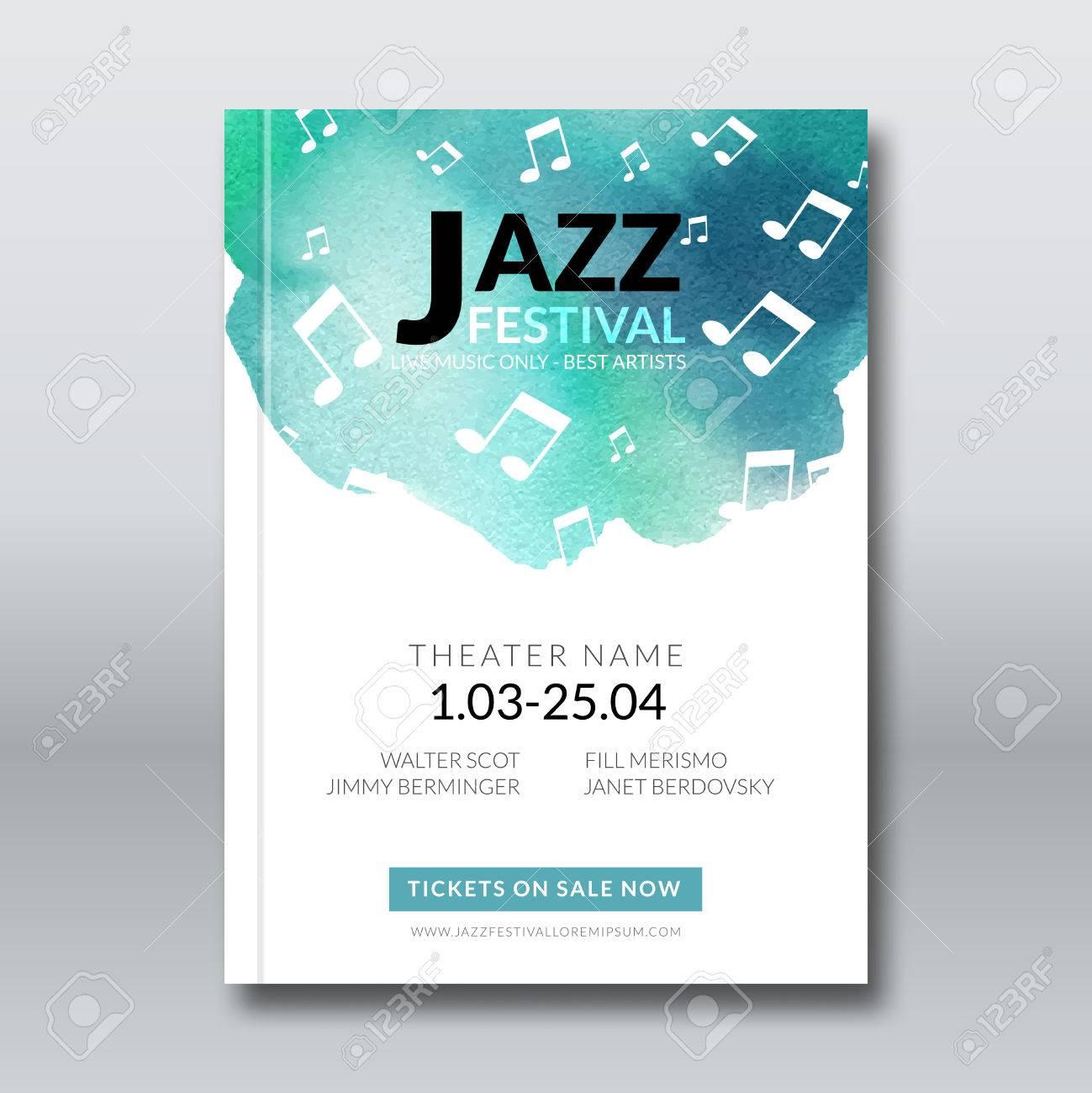 78d110558b2b3 Foto de archivo - Música de jazz plantillas de carteles de vector. Dibujado  a mano acuarela de fondo mancha. Resumen de antecedentes para la tarjeta