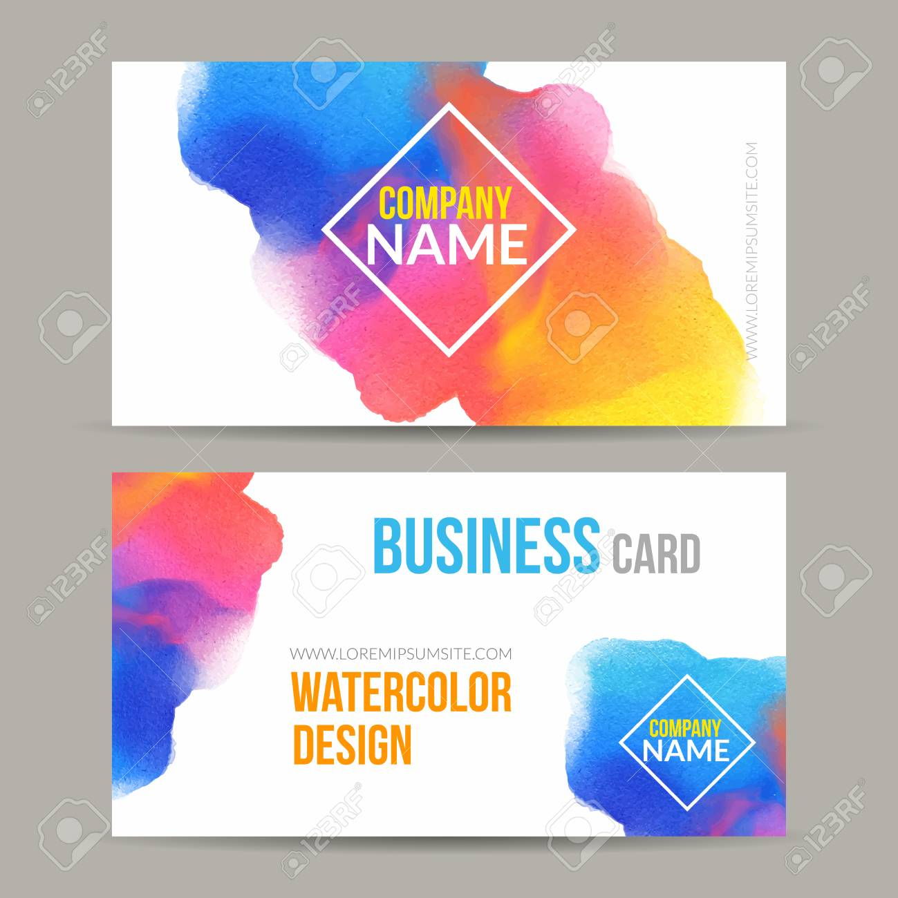 business cards template with watercolor paint abstract background