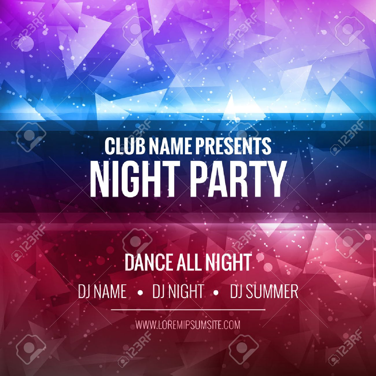 Night Dance Party Poster Background Template. Festival mockup - 53930958