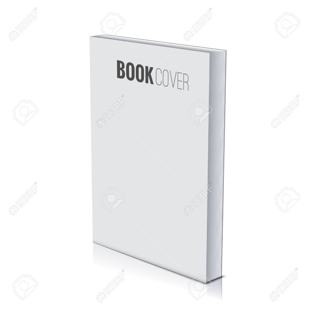 3d Book cover paperback page document template, blank isolated on white. - 57757143