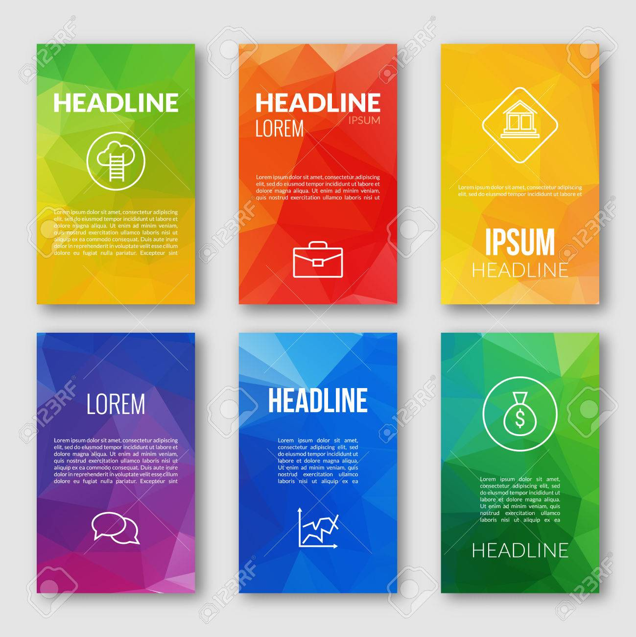 Web Design Set Template Business Triangular Banners Brochures - Mobile app design templates