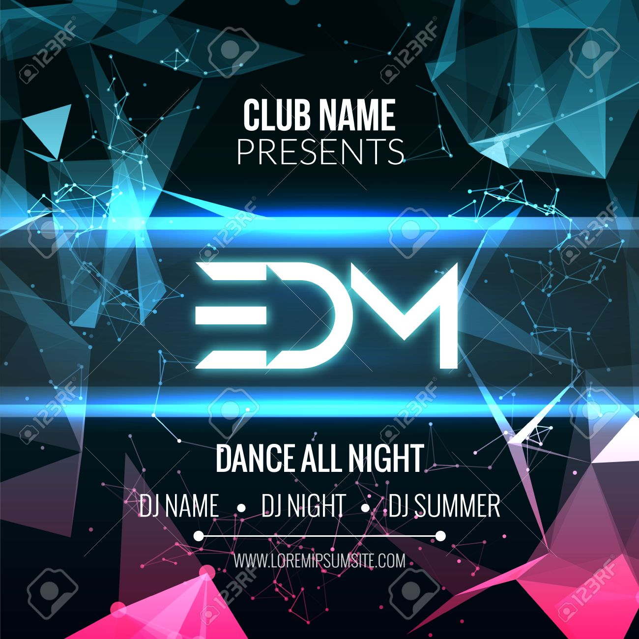 modern edm music party template dance party flyer brochure