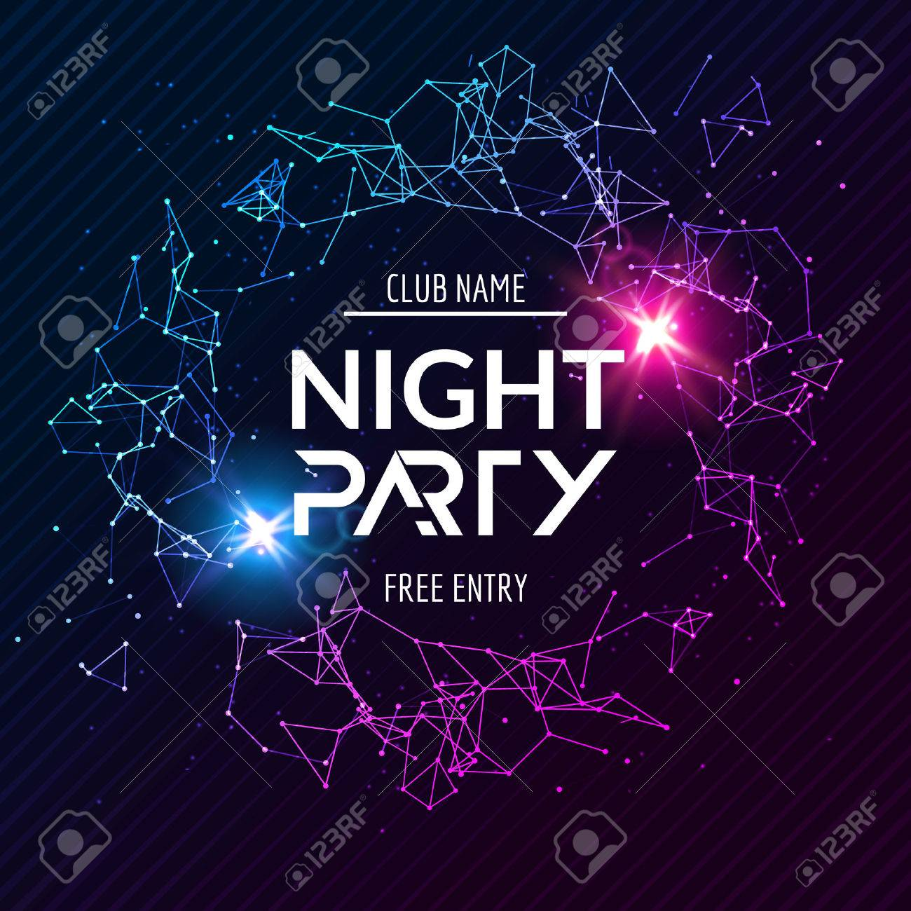 Night Party poster  Shiny banner club disco  Dj dance summer