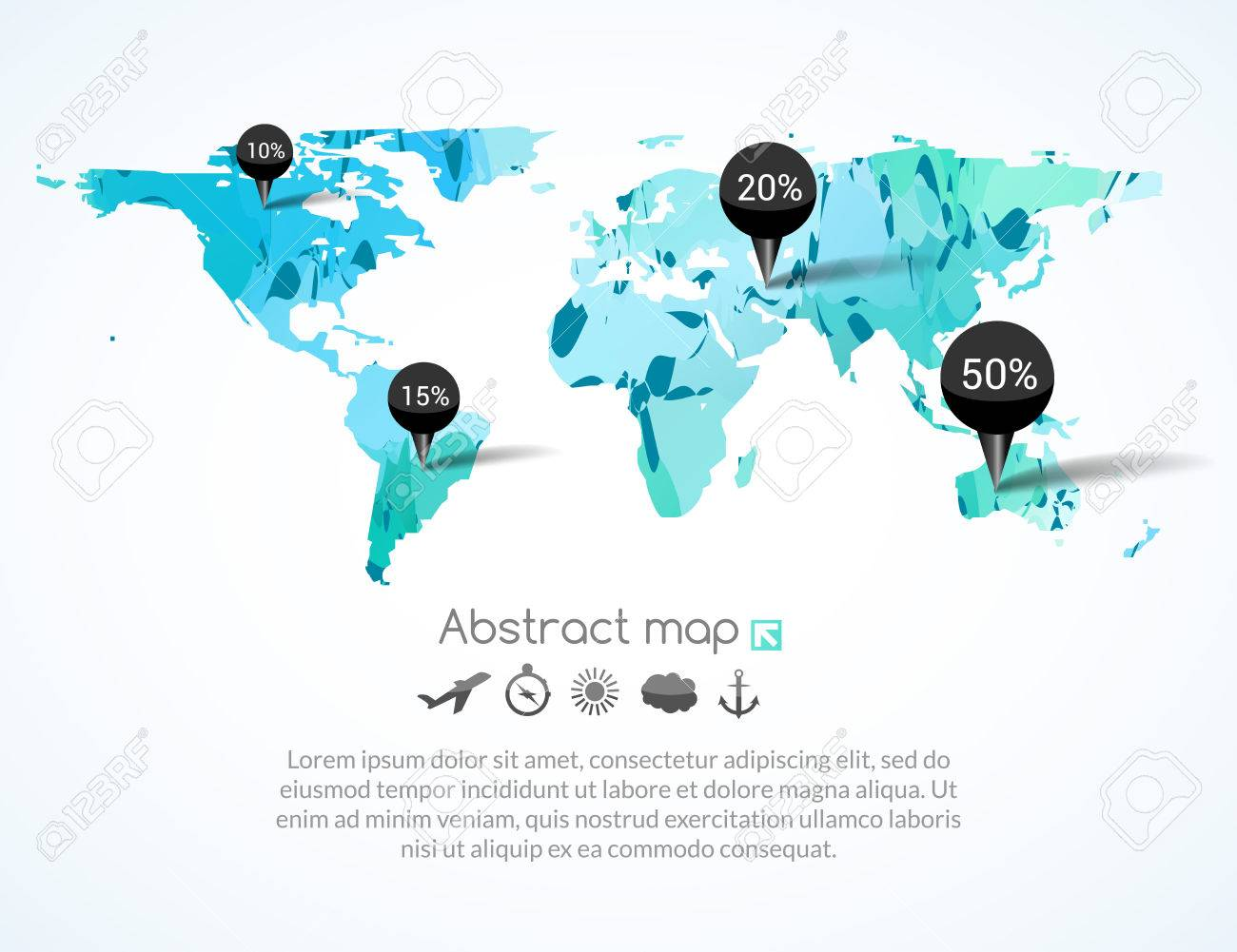 Vector blue triangle world map with tags points and destinations vector blue triangle world map with tags points and destinations with icons airplane sun gumiabroncs Image collections