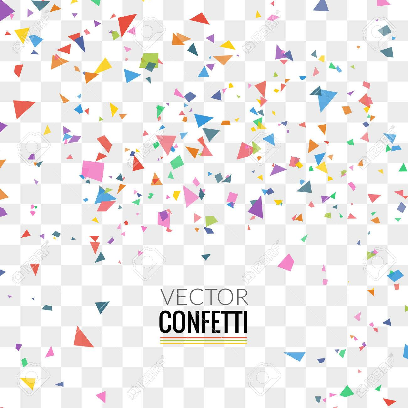 Colorful Confetti on Transparent square Background. Christmas, Birthday, Anniversary Party Concept. Vector Illustration. - 57946618