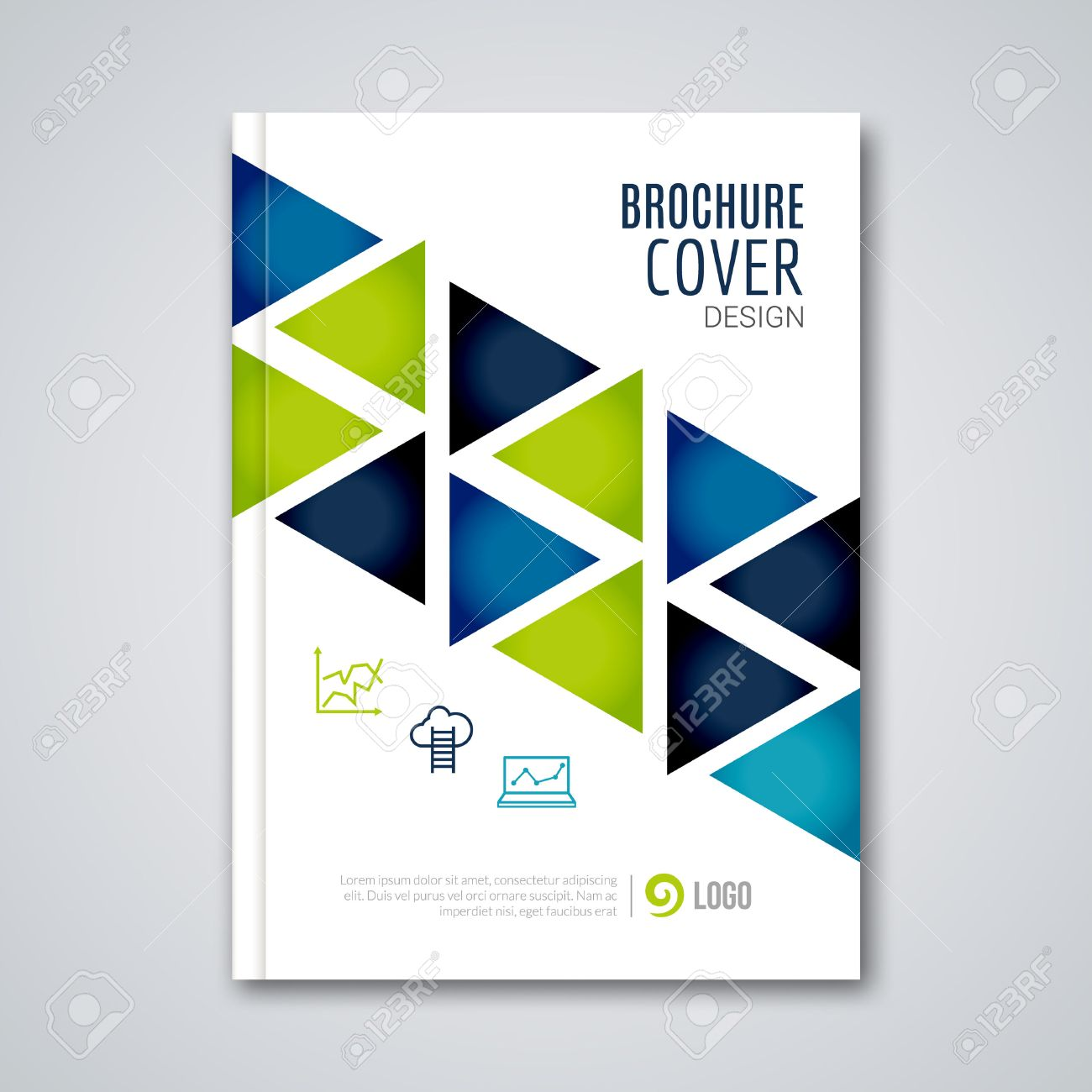 magazine cover on white stock photos images royalty magazine cover on white cover flyer report colorful triangle geometric prospectus design background cover