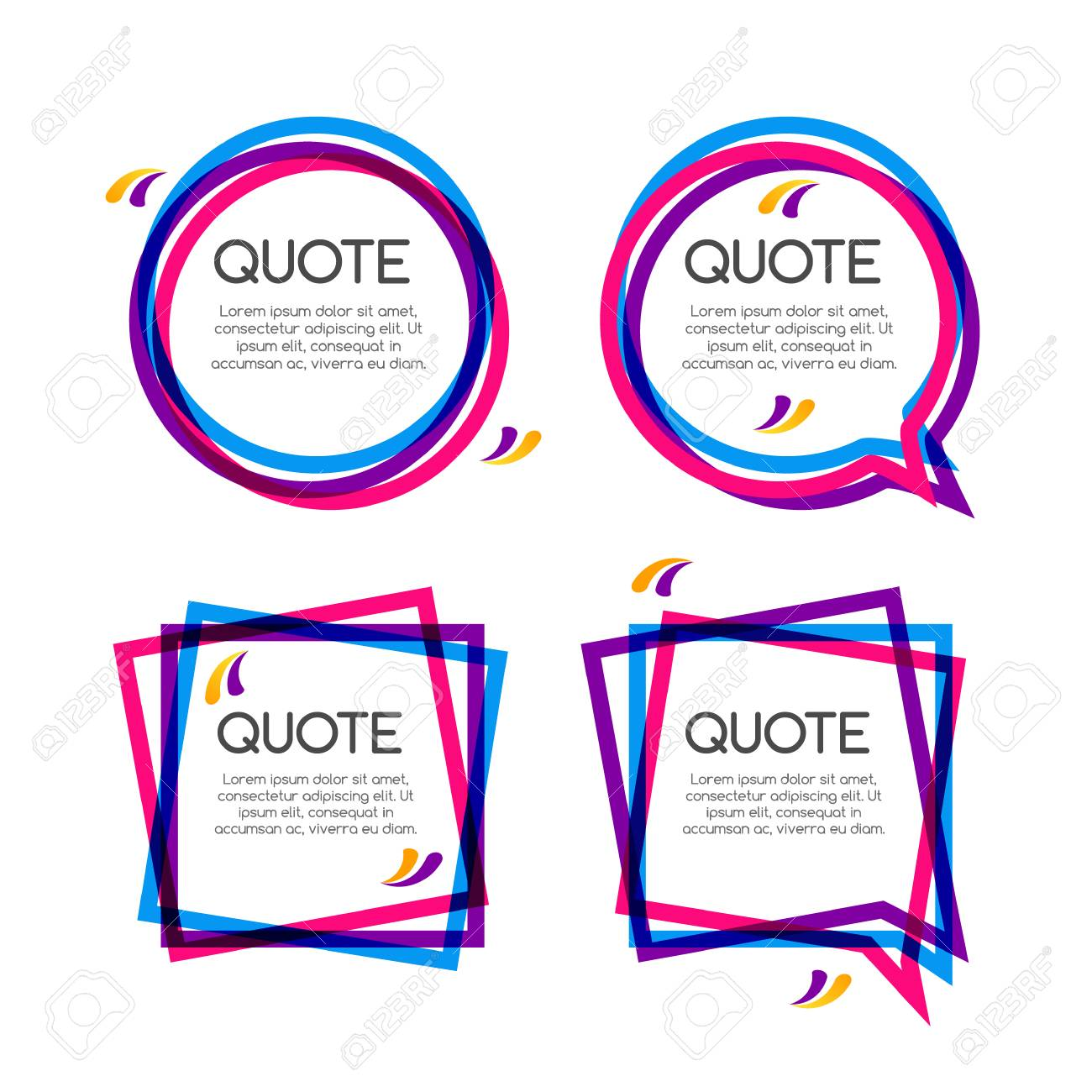 Vector Set Quote Frame, Colorful Quote Frames For Modern Design ...