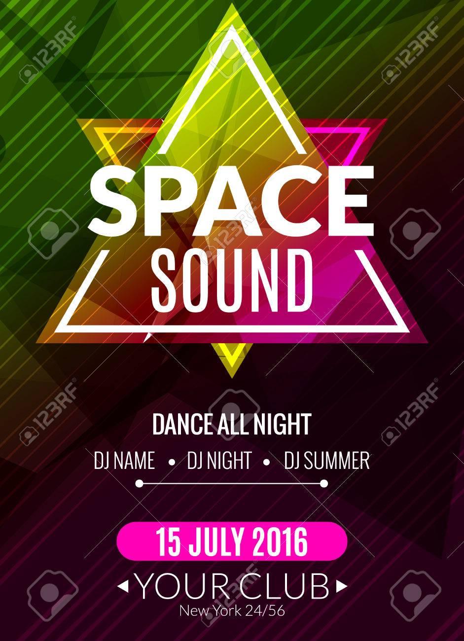 クラブ電子空間音楽ポスター。DJ の音楽イベントのフライヤー ...