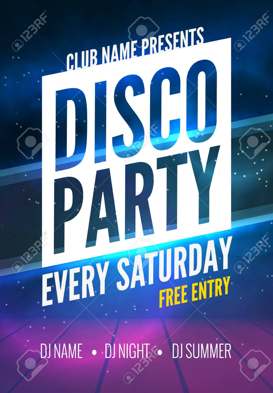 disco party poster template night dance party flyer disco stock