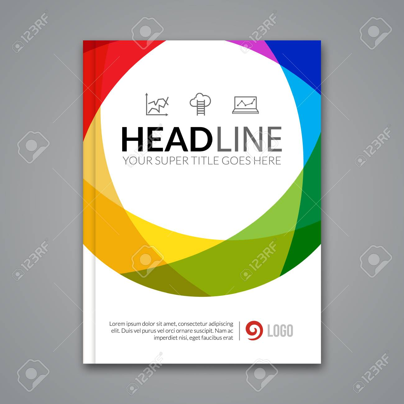 modern simple colorful circle vector template for business brochure