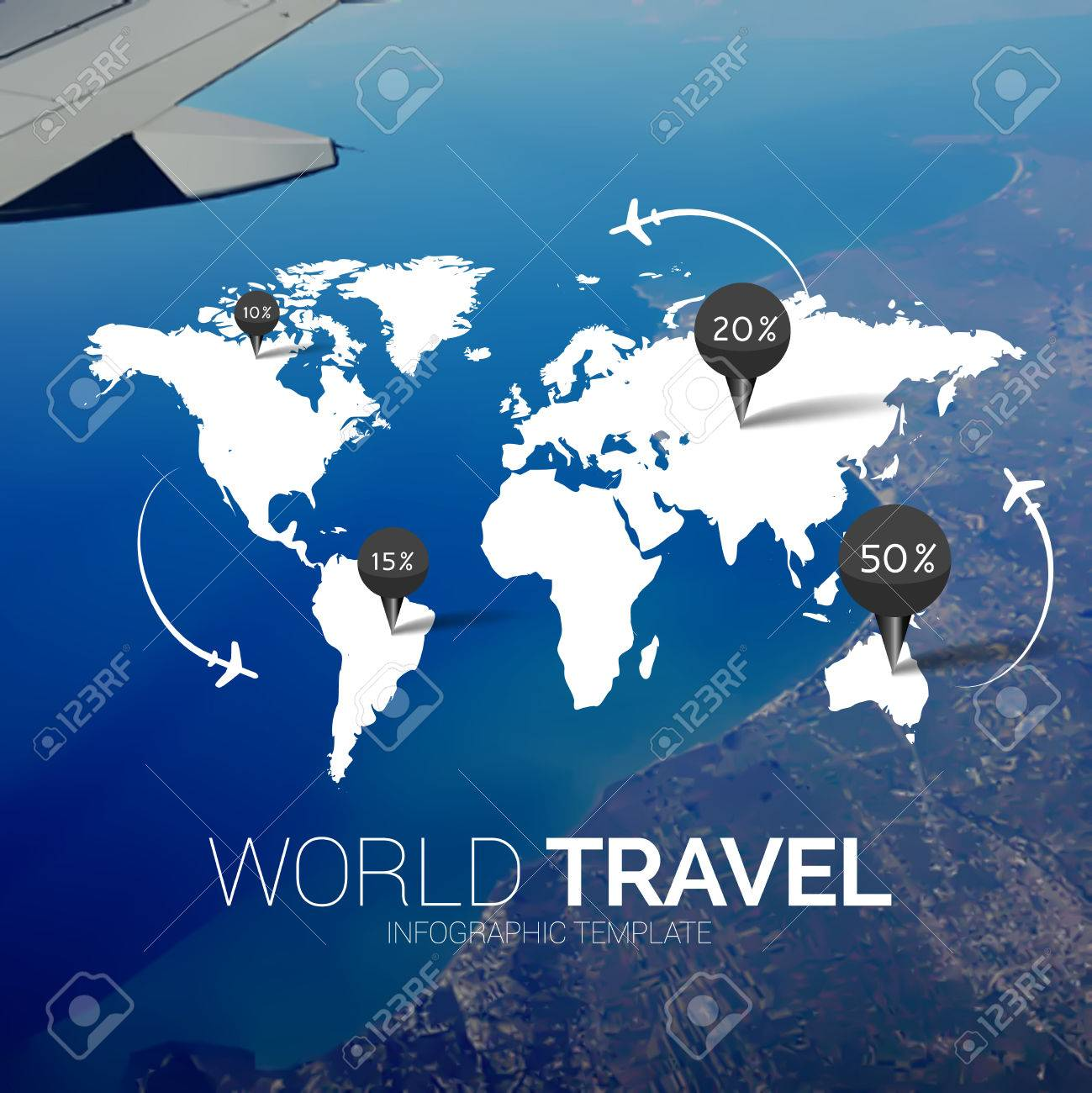 Vector template world map on blurred nature background points world map on blurred nature background points travel concept web mobile interface template corporate website design or background backdrop gumiabroncs Choice Image