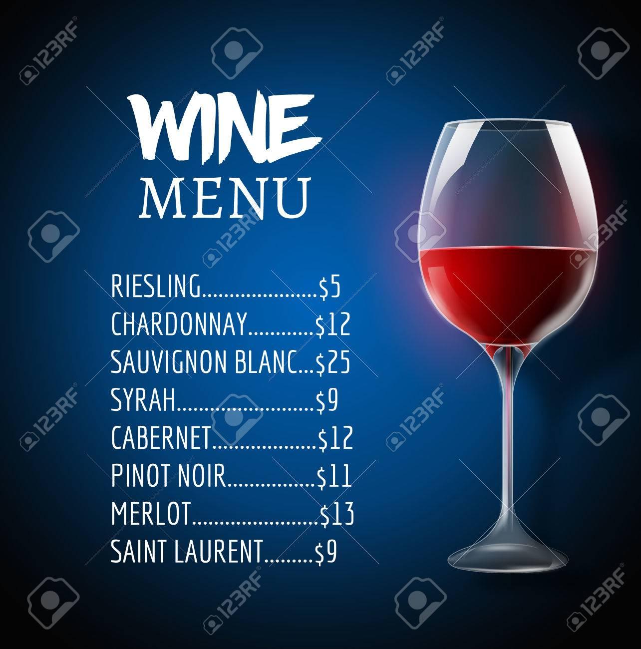 Wein-Menü-Karte Design-Vorlage. Weinkarte Layout-Vorlage ...
