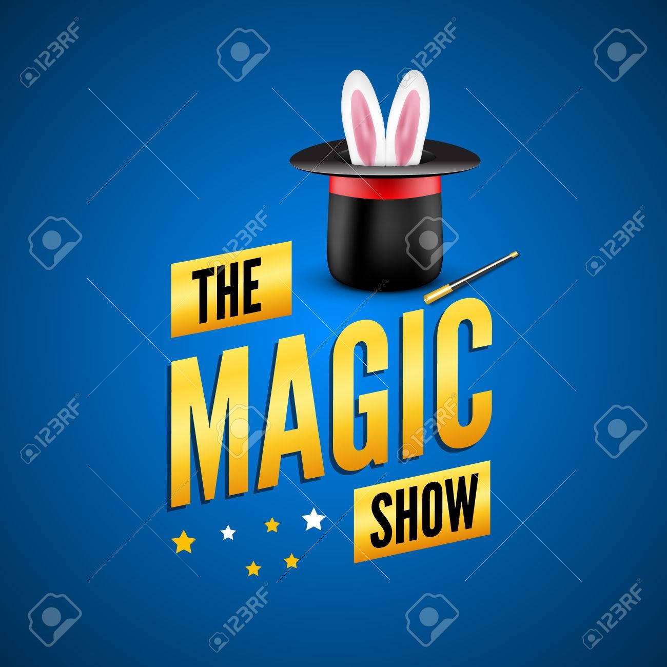 Foto de archivo - Plantilla de diseño de cartel mágico. logotipo concepto  mago con sombrero 43adf5ff00d