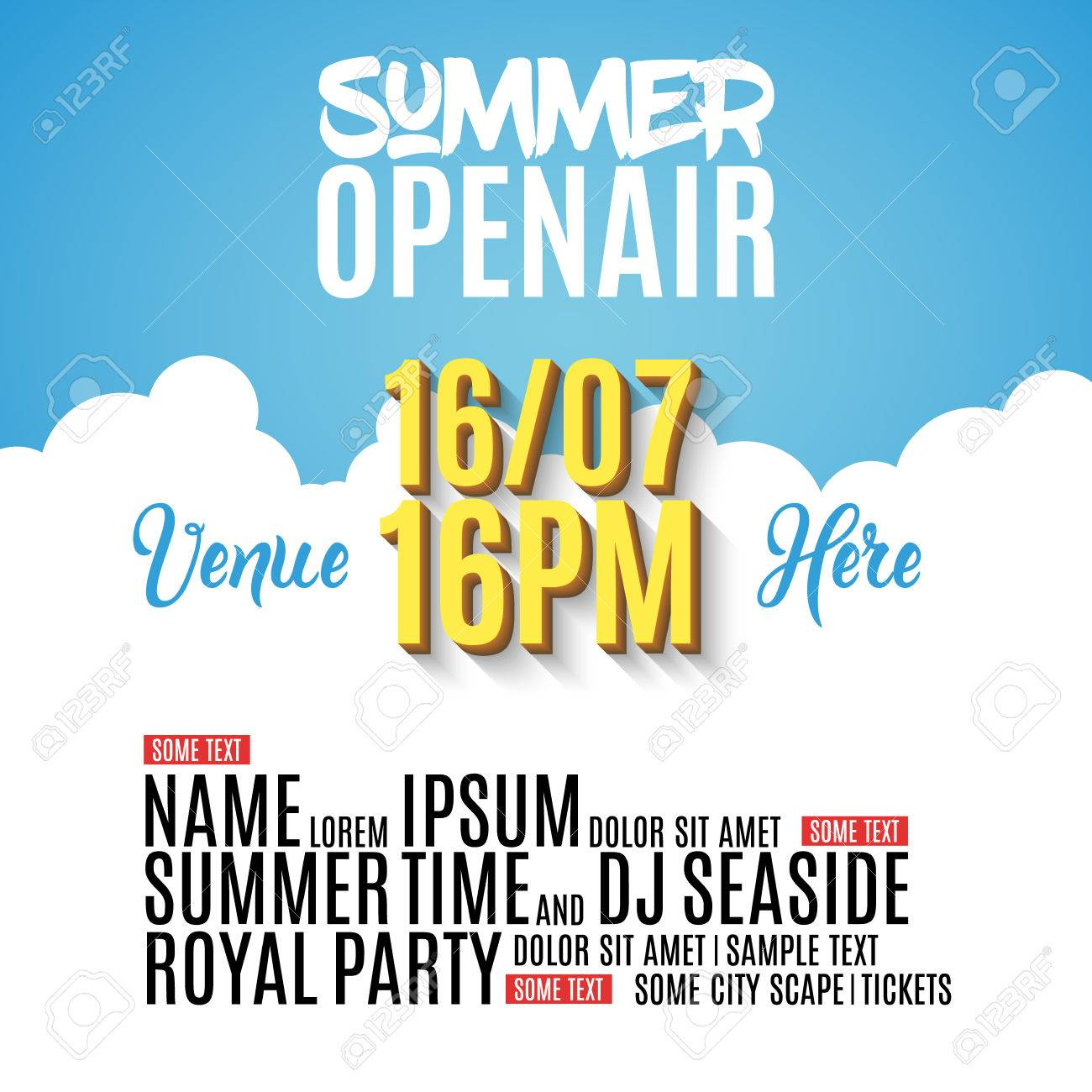 Open Air Festival Party Poster Design Flyer Or Poster Template