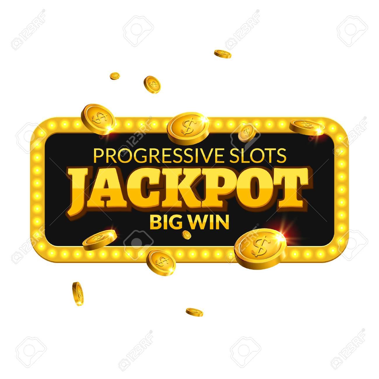Jackpot Casino Label Background Sign Casino Jackpot Coins Money