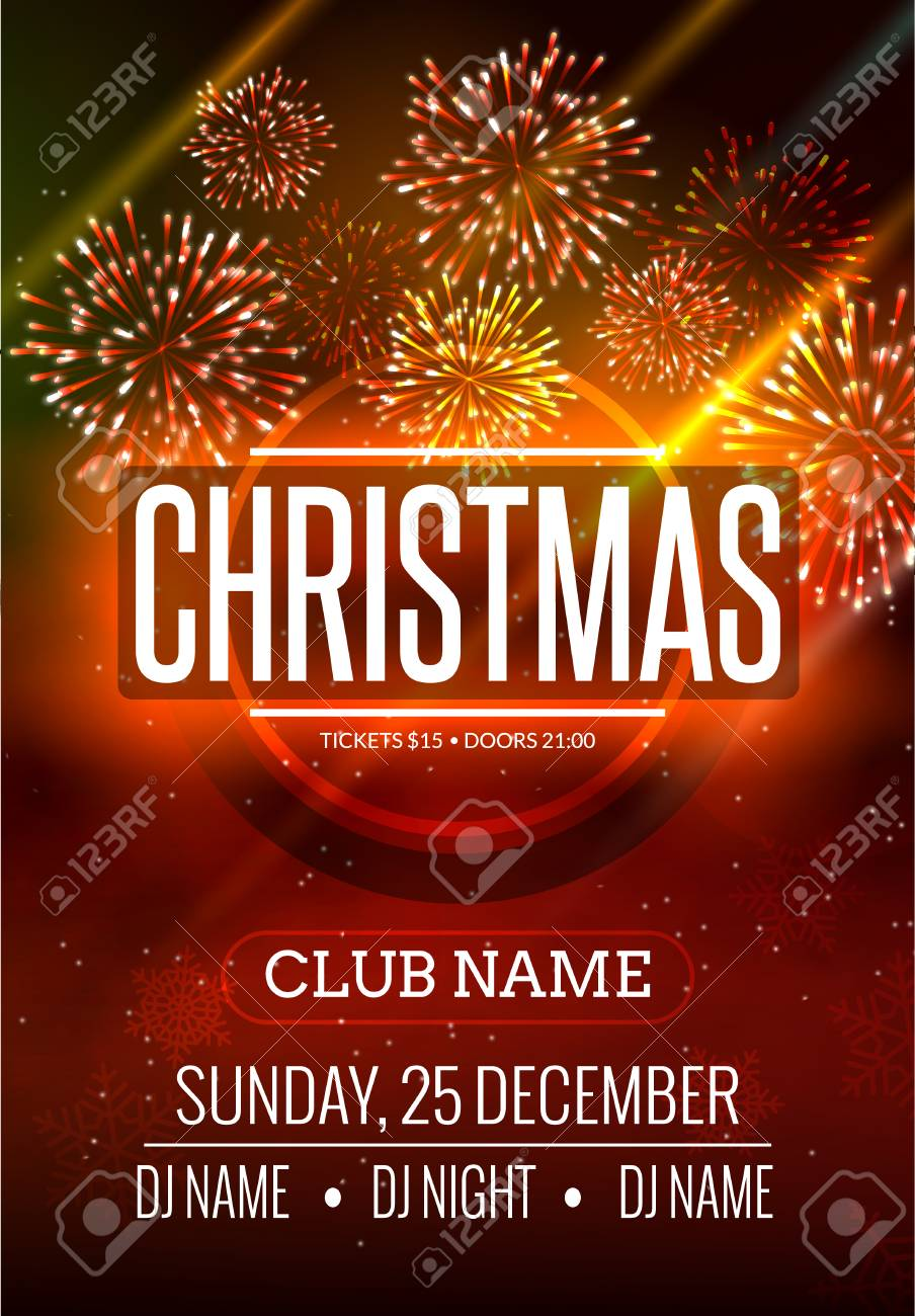 Christmas Party Poster Design With Fireworks Light. New Year ...