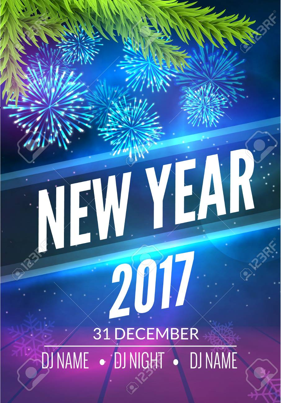 new year party poster design with fireworks light new year disco template celebration invitation