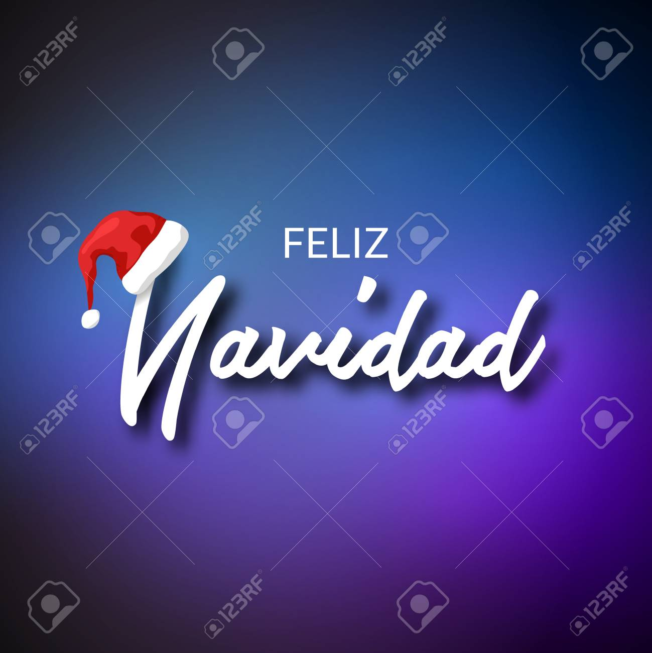 Feliz Navidad. Merry Christmas Card Template With Greetings In ...